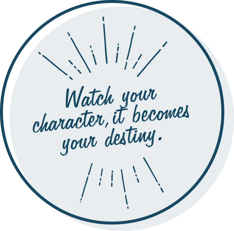 Watch your character, it becomes your destiny